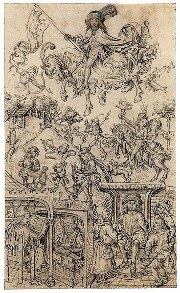 Jupiter und seine Kinder. Master of the Housebook (fl. between 1475 and 1500): Mittelalterliches Hausbuch von Schloss Wolfegg. After 1480. Currently at a unknown private collection.