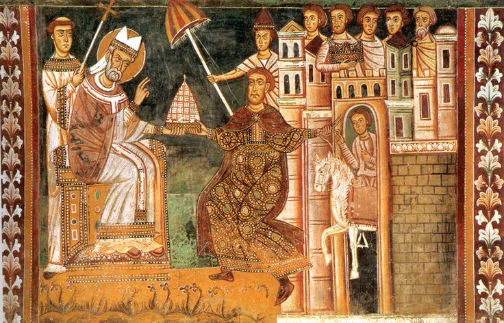 A 13th-century fresco of Sylvester and Constantine, showing the purported Donation. Santi Quattro Coronati, Rome; San Silvestro Chapel at Santi Quattro Coronati], Rome (parasol!)