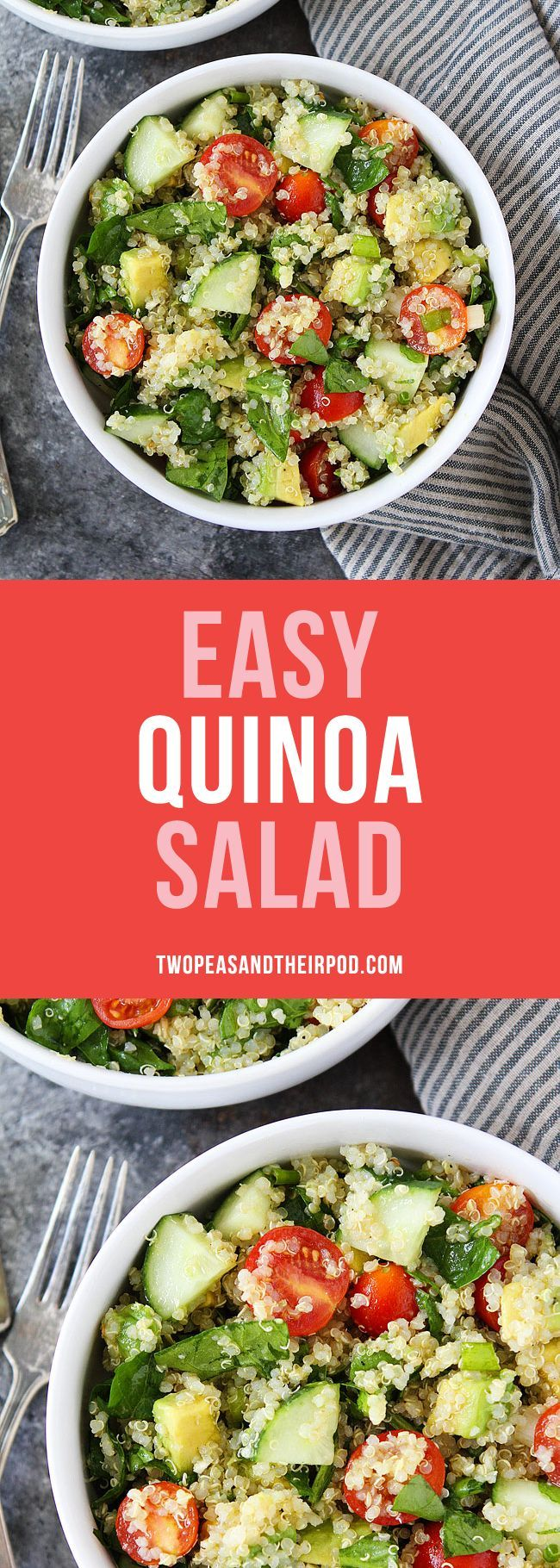 This Easy Quinoa Salad is the BEST quinoa salad recipe! It is great for lunch, dinner, or the perfect side dish for potlucks and parties. You will love this healthy vegan and gluten free salad. #salad #quinoa