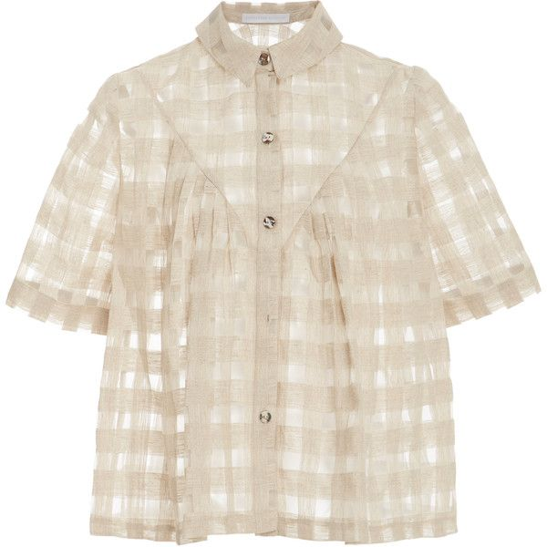 Christine Alcalay Pleated Yoke Button Up Top (5.469.400 IDR) ❤ liked on Polyvore featuring tops, blouses, neutral, yoke blouse, button up blouse, short sleeve tops, short sleeve blouse and pink button up blouse