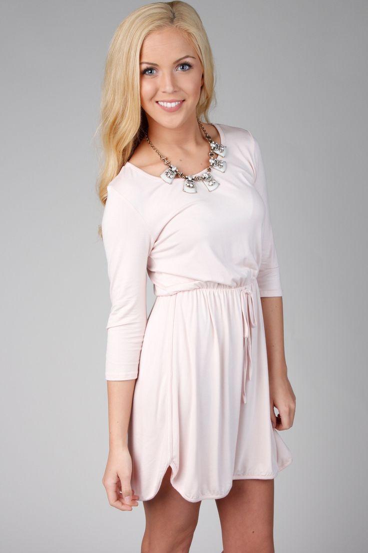Pink 3/4 Sleeve Drawstring Waist Dress