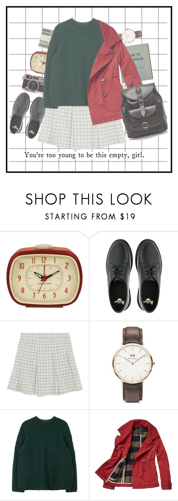 """""""Too young to be empty at school"""" by yeppeune ❤ liked on Polyvore featuring Kikkerland, Jack Spade, Dr. Martens, Daniel Wellington, Scotch & Soda, Stela 9, vintage, school, preppy and nguyenthidieuthanh"""