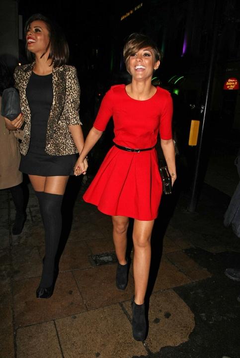 Frankie Sandford in Zara red dress