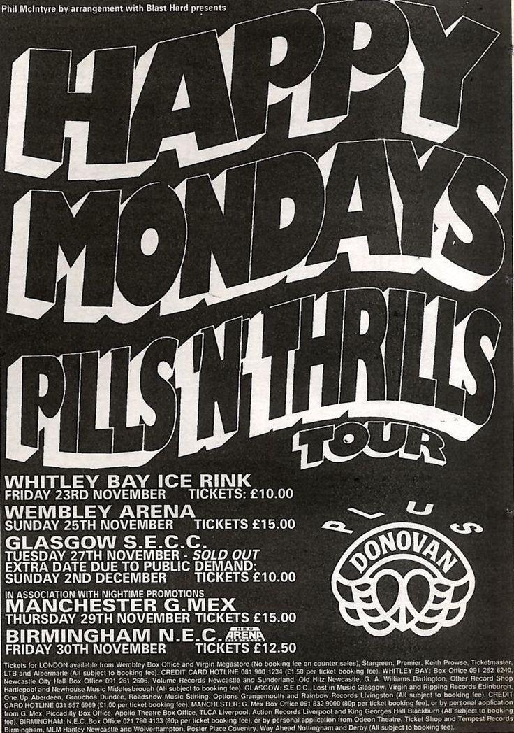 10 11 90PN43 Advert Happy Mondays Pills N Thrills Tour WINTER90 7x5 | eBay