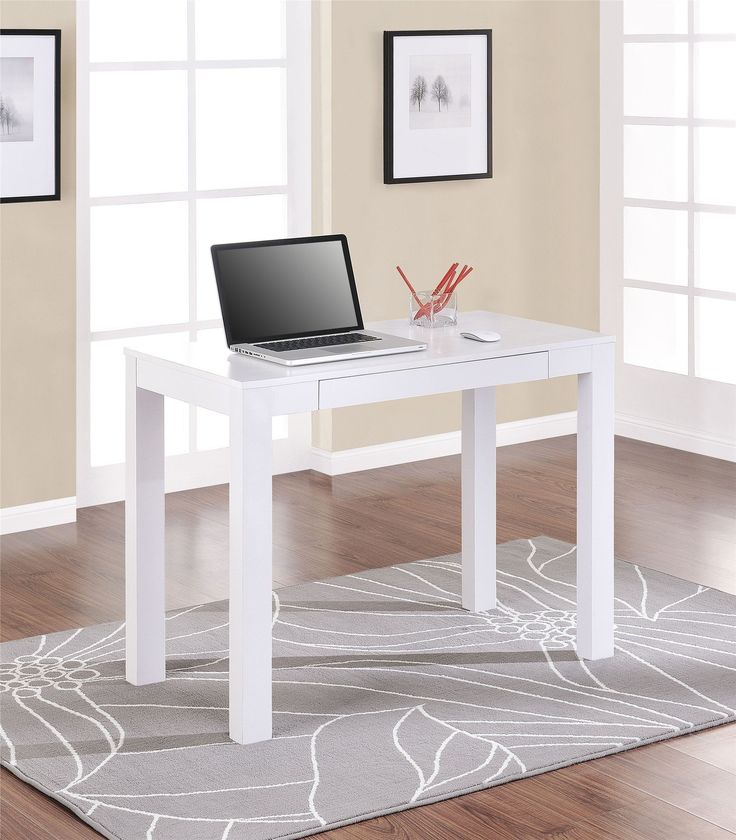 Amazon Com Parsons Desk With Drawer White Finish Home