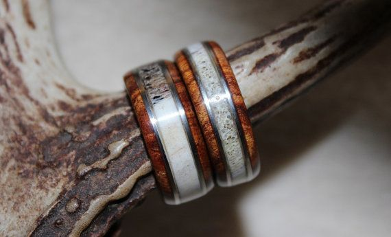 Wood Ring Antler Ring His And Hers Elk And By KHWoodworkings 12000