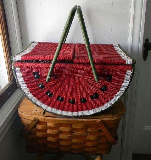 vintage wicker picnic basket watermelon by snugsnuggery on Etsy, $45.00