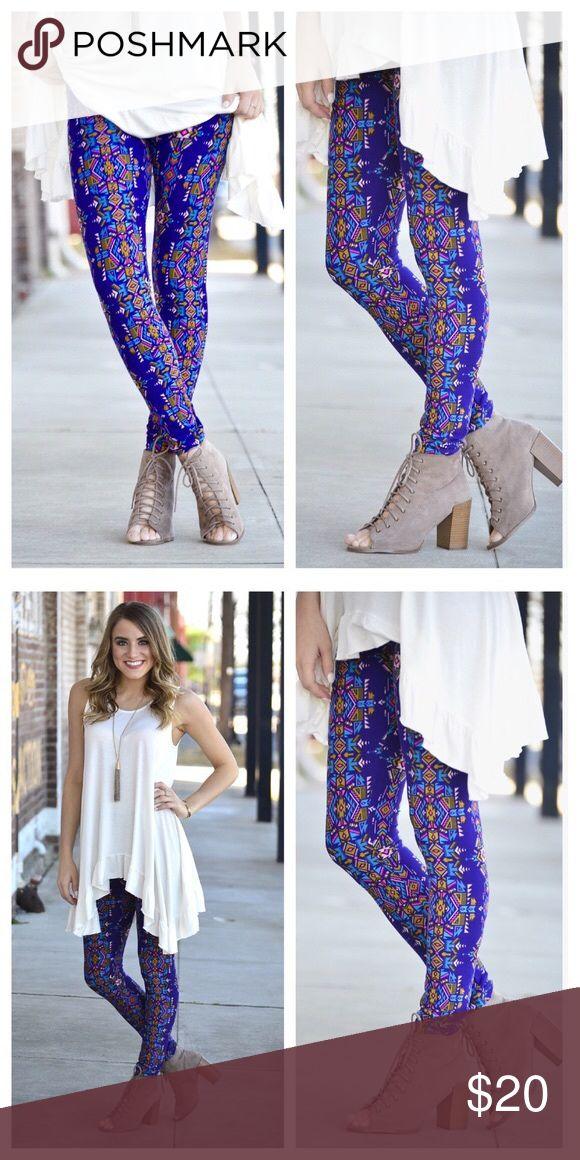 🆕Just in Cobalt Blue Aztec print leggings⚜️ New Arrival! Aztec Leggings in gorgeous bright cobalt blue! 💦 92% cotton 8% Spandex. One size (fits 2-12 comfortably) Infinity Raine Pants Leggings
