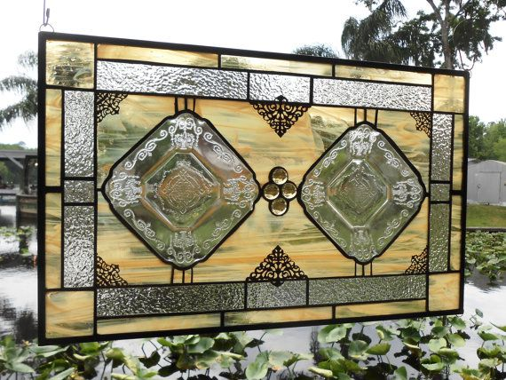 Stained Glass Panel, Valance or Transom Depression Glass Lorain Basket Plate Vintage Window Treatment