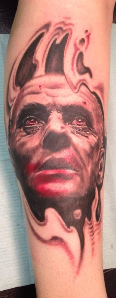 Hannibal Lecter.  Done by my coworker Jason Elliot.  Tattoo Zone in Rockaway, New Jersey, United States.