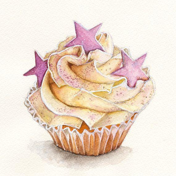 Cupcake Still Life Art Print of Watercolor Dessert Painting