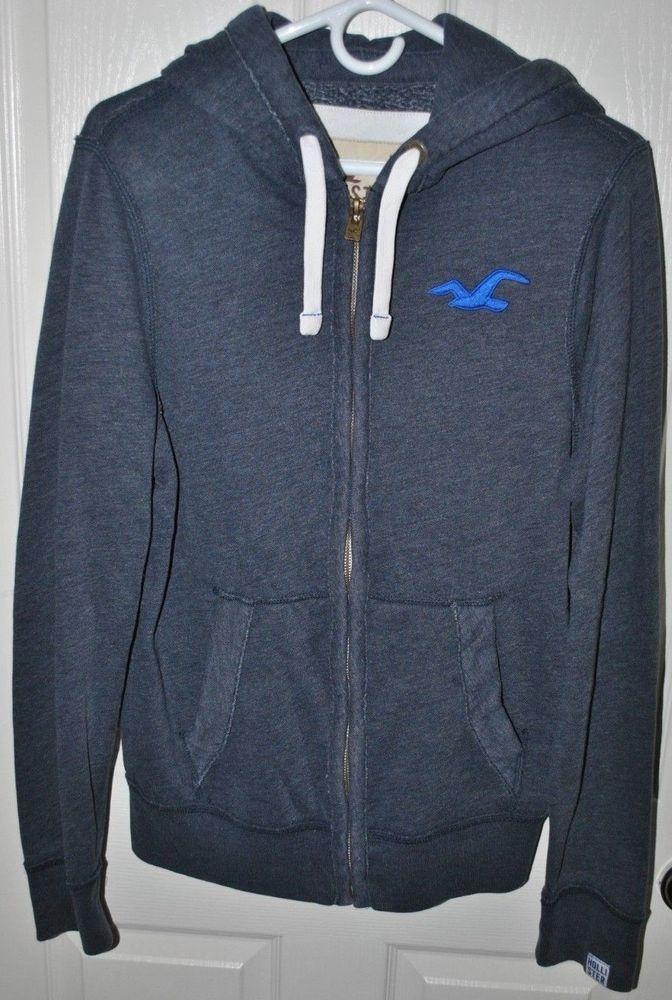 f367b5f4a Hollister Men's Full-Zip Icon Blue Hoodie Size Medium #Hollister #Hoodie
