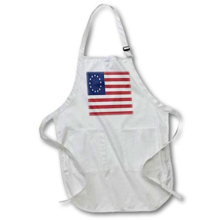 3dRose 13 Colonies Betsy Ross Flag, Full Length Apron, 22 by 30-inch, Black, With Pockets