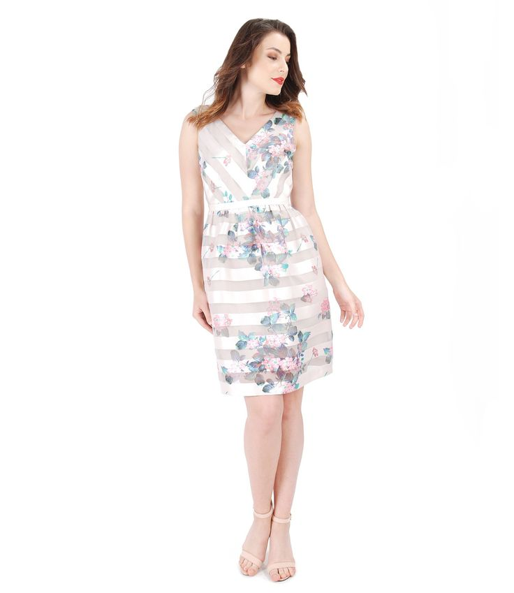 Organza dress with stripes and floral motifs. #organza #dress #floral #feminity