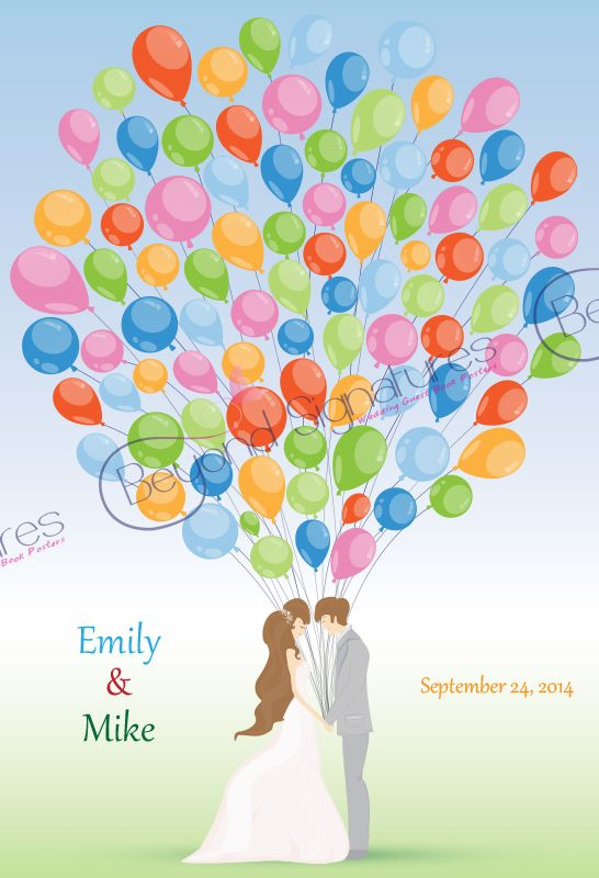 Happy Couple Holding Rainbow Balloons Wedding Guest Book Poster - www.beyondsignatures.com