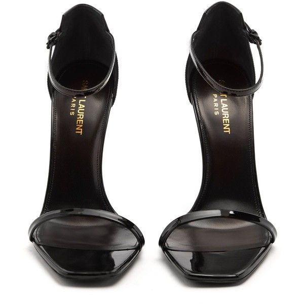 Saint Laurent Opyum logo-heel patent-leather sandals ($995) ❤ liked on Polyvore featuring shoes, sandals, strappy shoes, monogrammed sandals, black strappy sandals, black shoes and strappy sandals