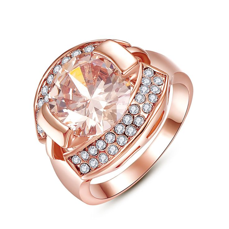 Rose Gold Plated Flat Ring Crystal Zircon Engagement Women Jewelry #Riconex #Trendy #Engagement