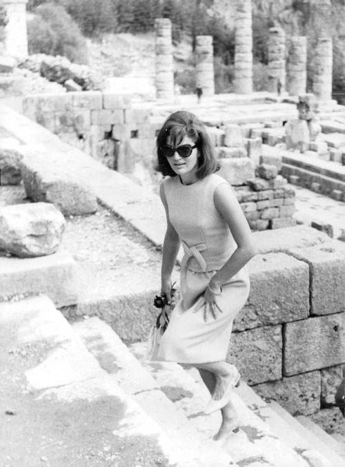 October 1963 ~ Jackie Kennedy visiting Delphi