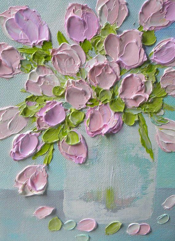 Fresh Pink Blush Tulips Impasto Oil Painting by KenziesCottage, $50.00