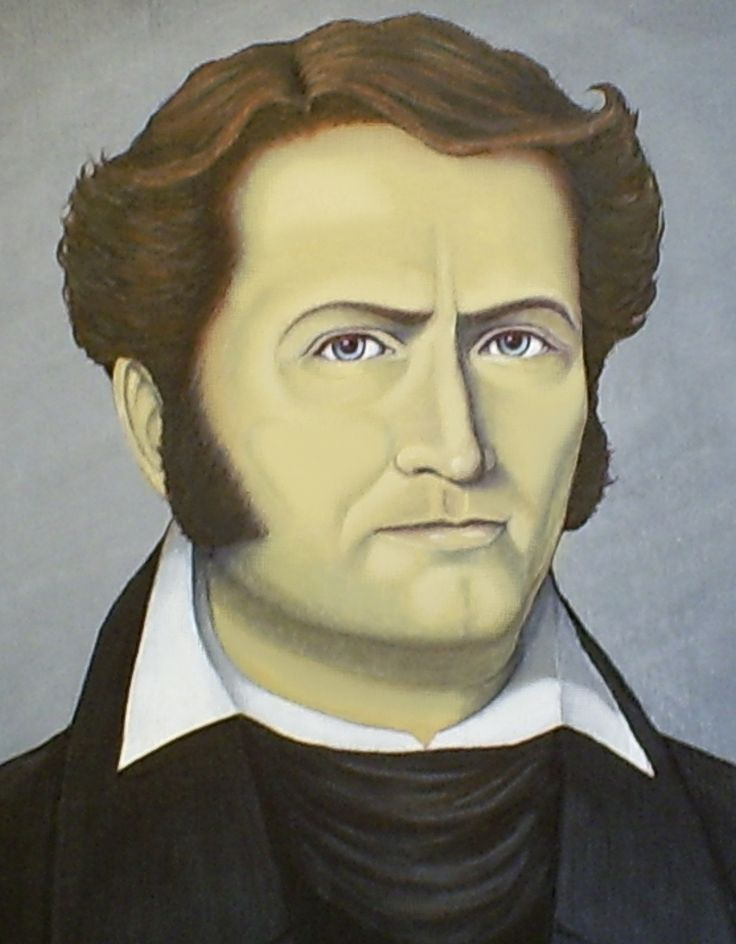 """James Bowie (April 10, 1796-1836) – Hero of the Alamo, designer of the Bowie knife. Born in Logan County, died at """"The Battle of the Alamo,"""" San Antonio, Texas."""