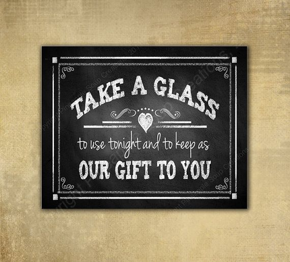 Wedding FAVORS Printable chalkboard sign - Take a Glass-  instant download digital file - DIY - Rustic Collection - Wedding Signage