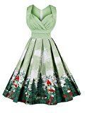 Damen Vintage 50S Kleider Weihnachten Kleid Abendkleid Cocktailkleid Festlich Partykleid Swing V-Ausschnitt Knielang Rockabilly Weihnachtskleid Ufly