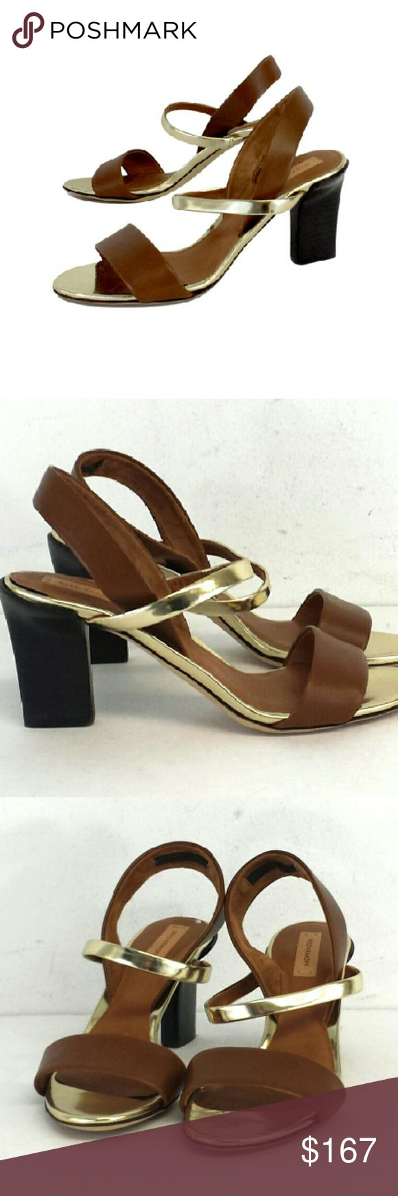 "Reed Krakoff- Brown & Gold Leather Sandal Heels Sz Size 6 (EU 36) Brown & Gold Sandal Heels Leather soles Leather upper Made in Italy Lightly padded insoles Slingbacks Heel Height 3"" Reed Krakoff Shoes Heels"