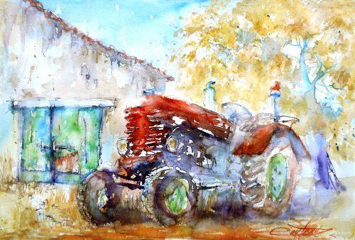 Vieux tracteur en fin de saison