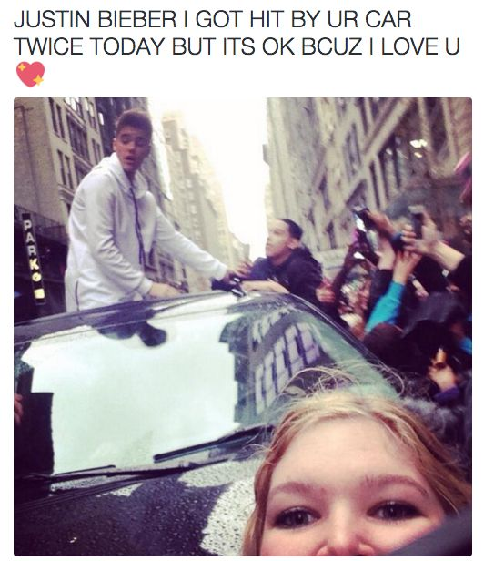 Literally got hit by an automobile: | The 23 Most Terrifying Things Justin Bieber Fans Have Done