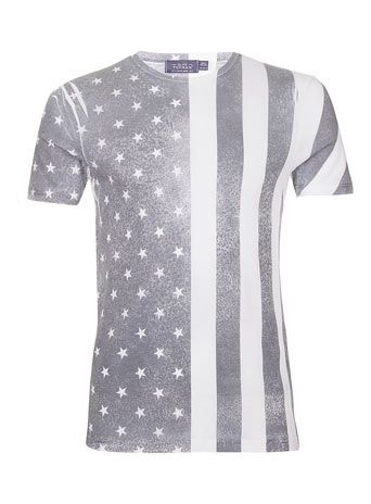 Black and White US Flag T-shirt