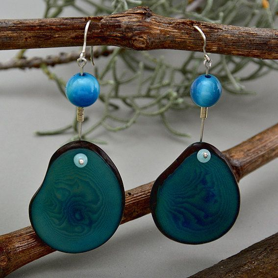 Silver blue earrings with blue vegetable ivory nut and turquoise jade by NataliaNorenasilver on Etsy