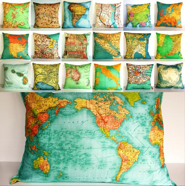 ANNA - HOW COOL do these with old weathered maps with a tea stained fabric and sage/brown print pillows