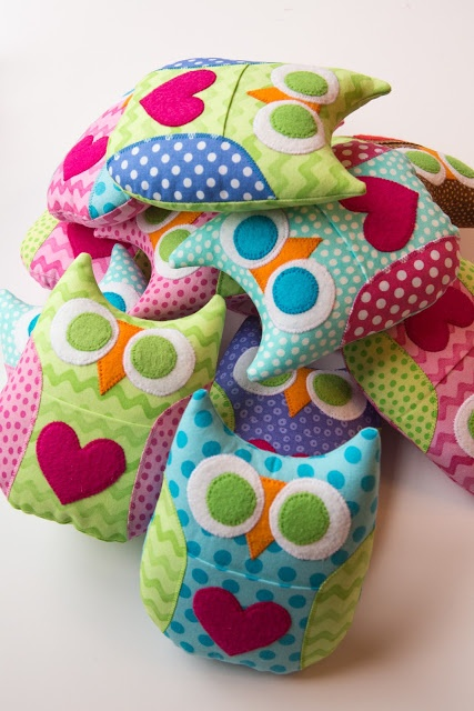 Owls ~ Various texture fabrics could make these great for the little ones.
