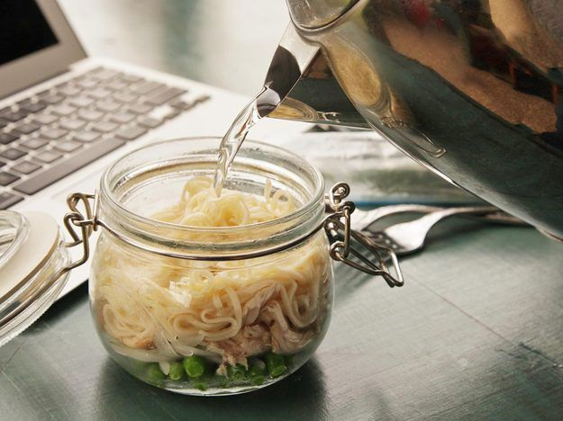 This pot of noodles with roast chicken, peas, and onions can be made ahead and taken to work. Just add boiling water, seal it up for three minutes, add the contents of the fresh herb packet, and you've got a hot lunch ready.
