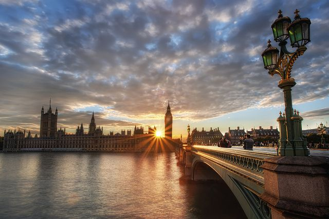 Sunset over the Houses of Parliament, Westminster, London.