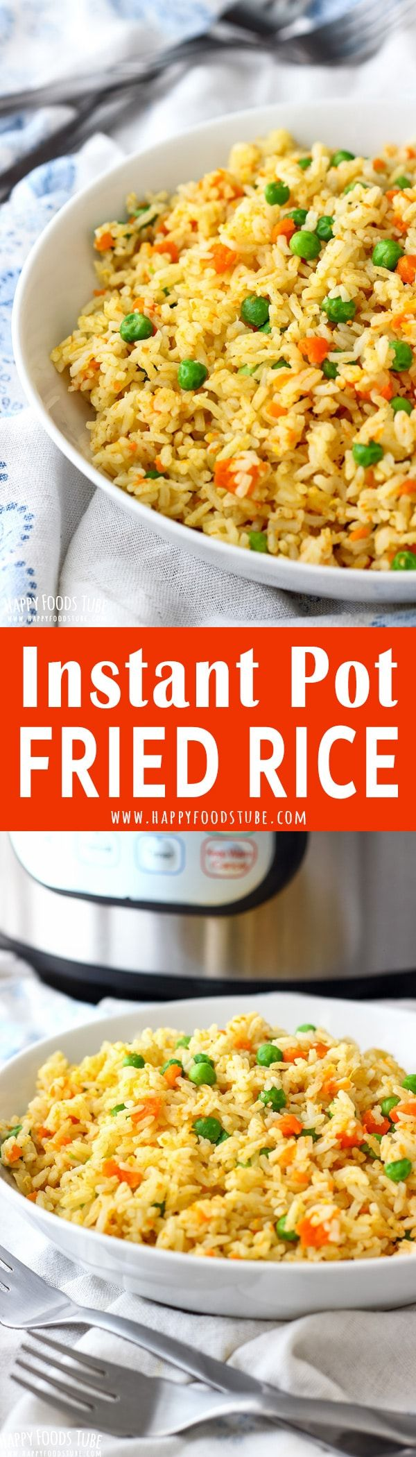 This Instant Pot fried rice is quick and easy pressure cooker recipe. Simple ingredients, easy preparation and great flavors. Instant Pot vegetarian fried rice. Gluten free. #instantpot #friedrice #pressurecooker #vegetarian #glutenfree