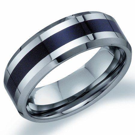 amazoncom mens tungsten wedding band engagement ring black stripe comfort fit jewel