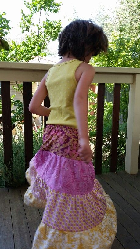Tiered skirt made from quilting fabric