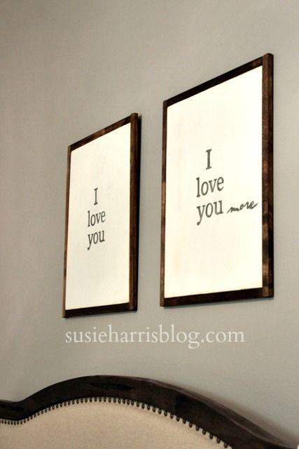 I love you..more is a fun way to display your love. Each sign measures 15 1/2 x 20 1/2 Signs come in a set for 75.00 You can find more at susieharrisblog.com