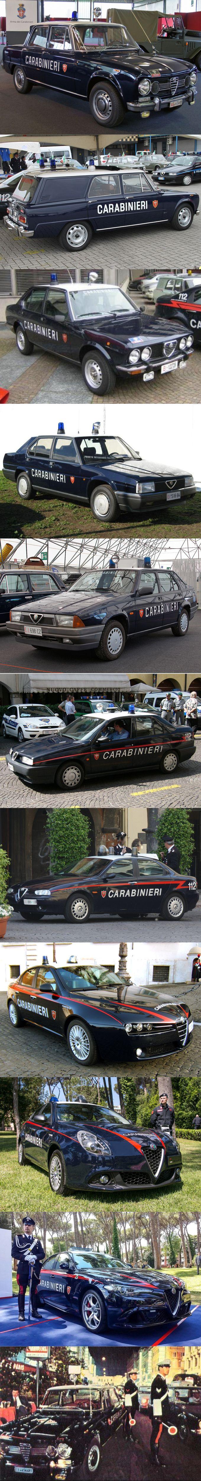 Alfa Romeo Carabinieri / 1962 Giulia / 1972 Alfetta / 1984 90 /1985 75 / 1992 155 / 1997 156 / 2005 159 / 2016 Giulia / Italy / police / blue white red