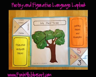 Poetry and Figurative Language Lapbook: Lapbooks, Rooms 4B, Teacher Stuff, Lap Books, Language Lapbook, Language Art, Figures Language, Fantastic Foldable, Figurative Language