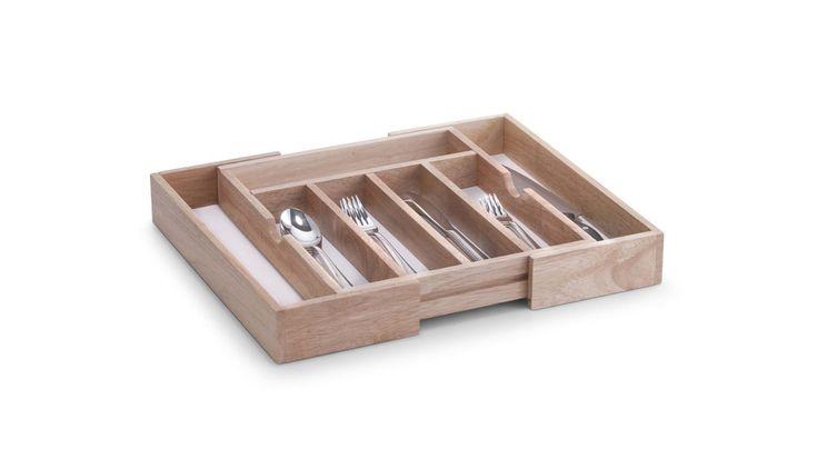 Dieser hochwertige Besteckkasten aus Gummibaumholz verfügt über 5-7 getrennte Fächer und passt sich jeder Schublade perfekt an.