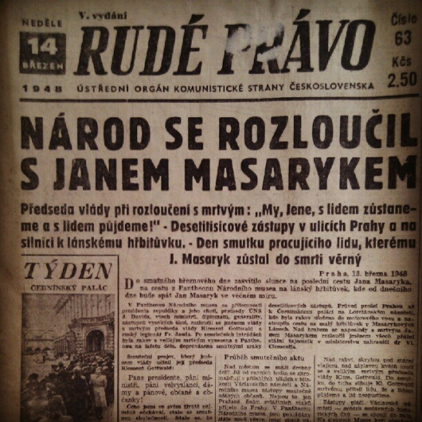 Rude pravo 14.3.1948, Jan Masaryk died