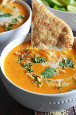 Thai Coconut Curry Butternut Squash Soup.  I'm obsessed!  So flavorful and satisfying on a cold Fall day.    hostthetoast.com