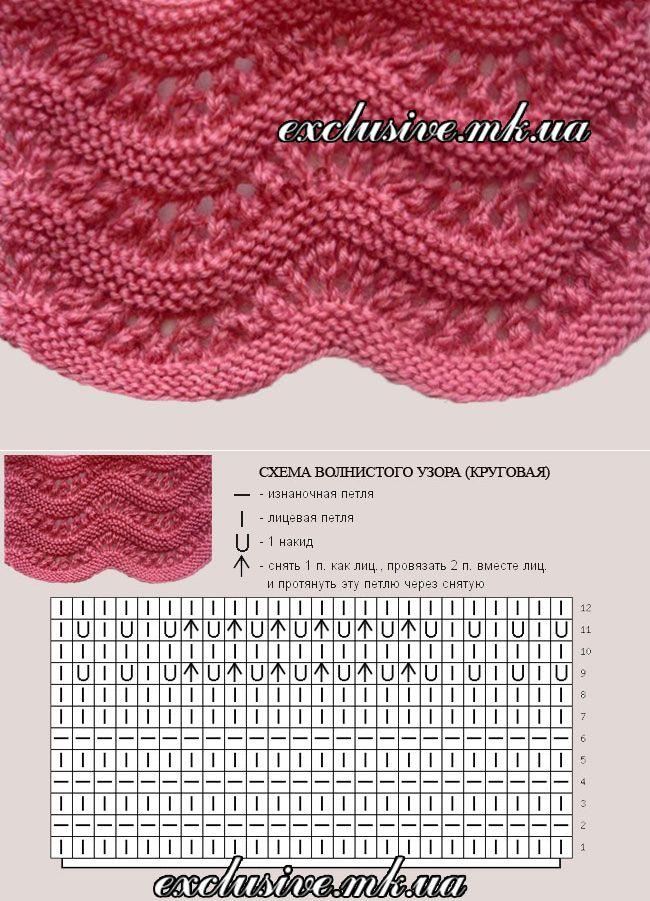 Узор 17 ажурный волнистый узор | Салон эксклюзивного вязания