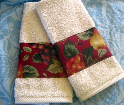 SONOMA RED Fruit Custom Decorated Cream Hand Towels  by Sew1Pretty, $17.00