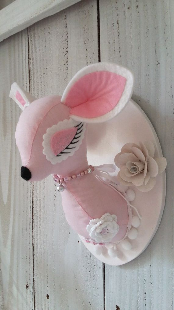 Pink Bambi Faux Taxidermy  by PapilloteCreations on Etsy...I want this so much :)