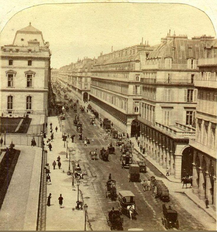 La rue de Rivoli, Paris, vers 1864-1865. Une photo de Lamy.