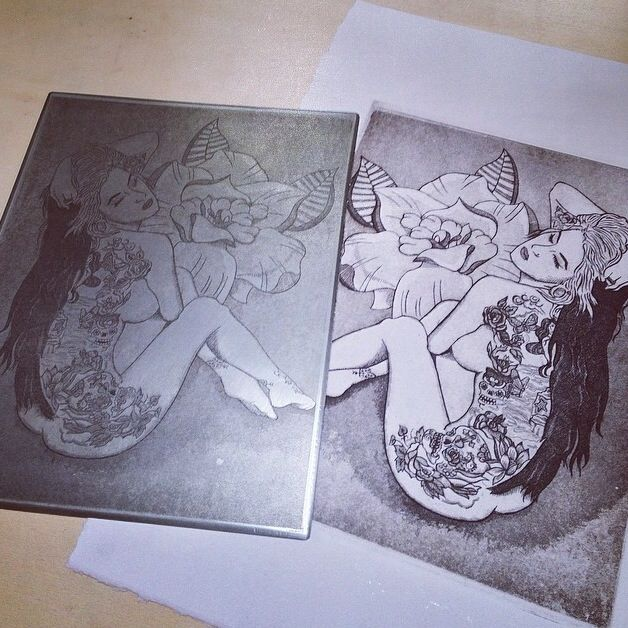 Suicide Girl, engraved steel plate printed on paper