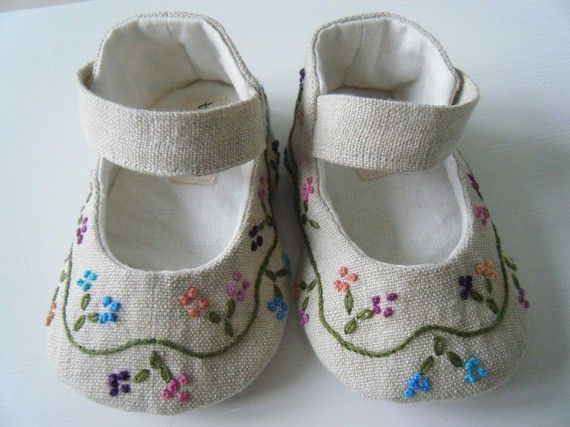 Organic Baby Shoes, Mary Jane, Hemp Linen, Hand Embroidered,Baby Girl Shoes, Bobka Shoes by BobkaBaby. $75.00, via Etsy.